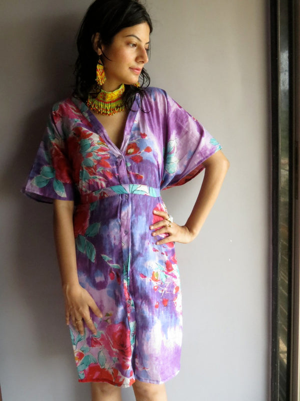 Purple Multicolor Big Flower V-Neck Button Down to Waist, Knee Length, Cinched Waist Caftan