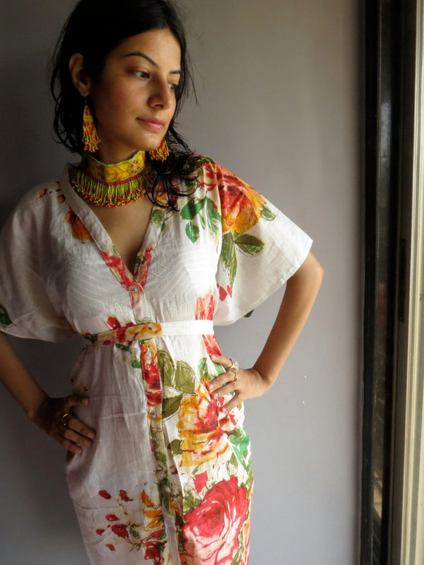 WhiteMulticolor Big Flower V-Neck Button Down to Waist, Knee Length, Cinched Waist Caftan