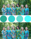 Shades of Aqua and Teal, Seafoam Wedding Colors Bridesmaids Robes