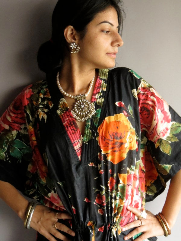 Black Multicolor Big Flower V-Neck, Ankle Length, Cinched Waist Caftan-D8 fabric Code