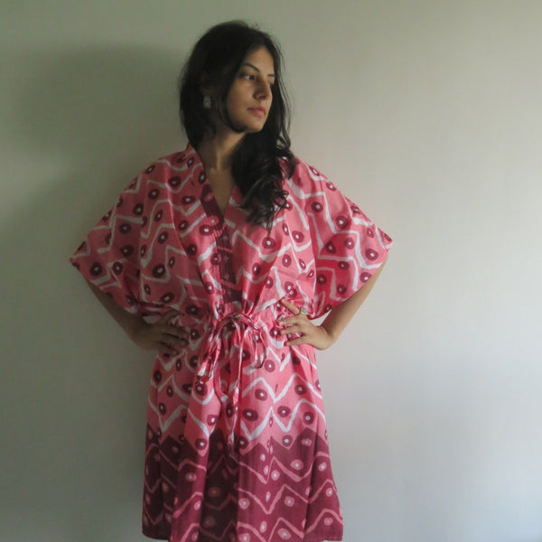 Coral Chevron Dots V-Neck Button Down to Waist, Knee Length, Cinched Waist Caftan-QQ8 fabric Code
