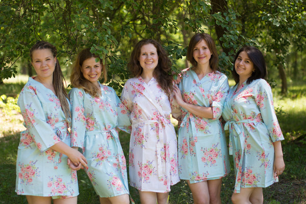 Faded Flowers Pattern Bridesmaids Robes|Light Blue Faded Flowers Pattern Bridesmaids Robes|Faded Flowers|Light Blue Faded Flowers Pattern Bridesmaids Robes