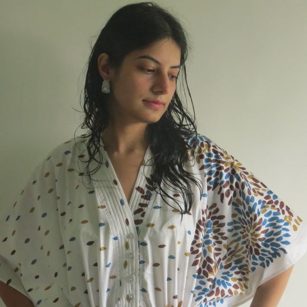 White Abstract Floral V-Neck Button Down to Waist, Ankle Length, Cinched Waist Caftan