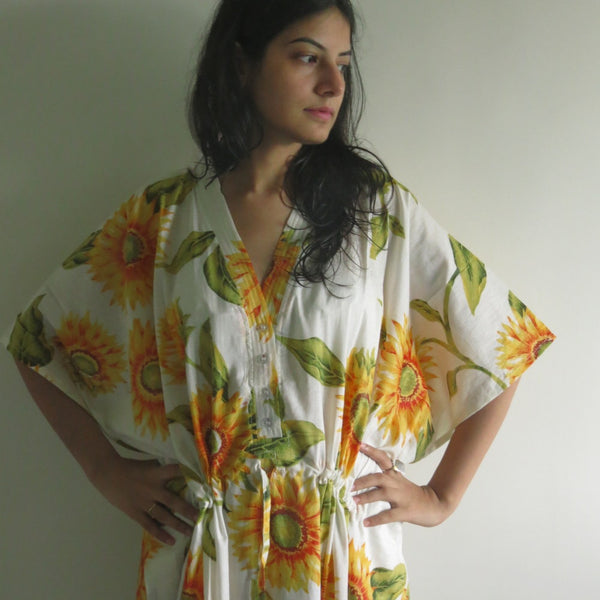 White Sunflower V-Neck Button Down to Waist, Ankle Length, Cinched Waist Caftan-LL2 fabric Code