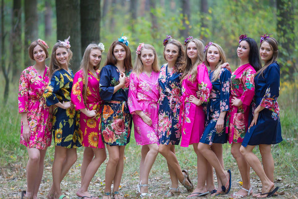 Navy Blue and Fuchsia Hot Pink Wedding Colors, Bridesmaids Robes