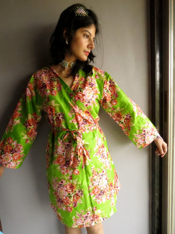 Green Floral Knee Length, Kimono Crossover Belted Robe-C10 fabric Code