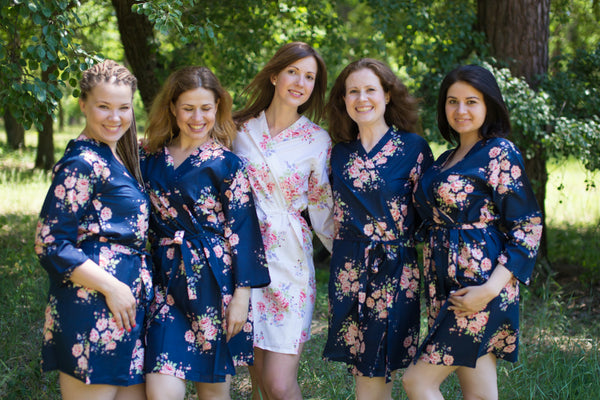 Faded Flowers Pattern Bridesmaids Robes|Navy Blue Faded Flowers Pattern Bridesmaids Robes|Faded Flowers