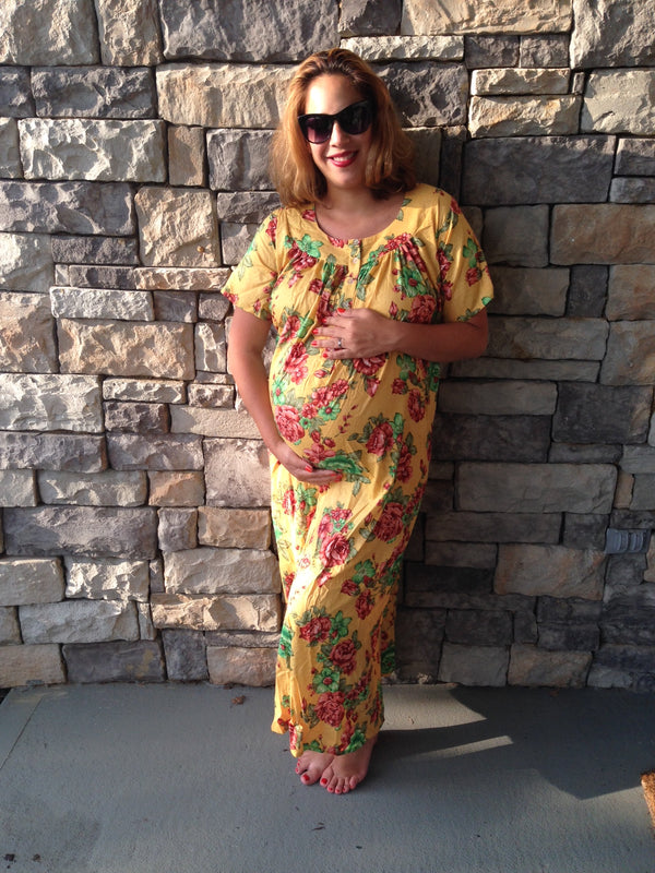 Floral Maternity Muumuu Front Buttoned