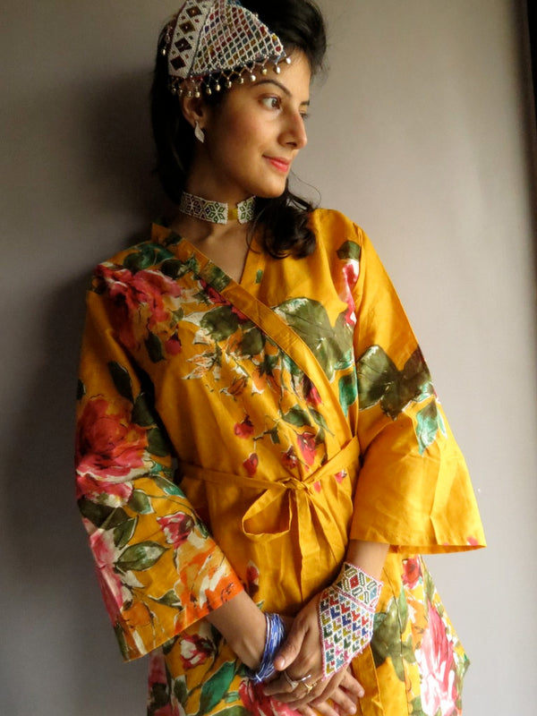 Yellow Floral Knee Length, Kimono Crossover Belted Robe-D9 fabric Code
