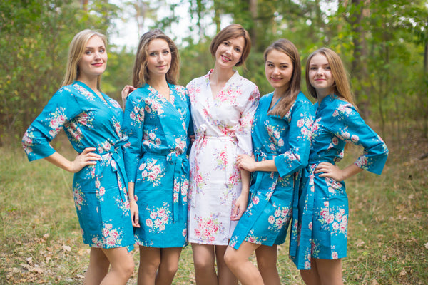 Peacock Blue Faded Flowers Pattern Bridesmaids Robes
