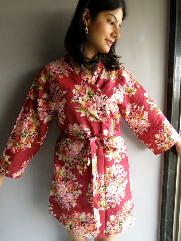 Maroon Floral Knee Length, Kimono Crossover Belted Robe- C3 fabric Code