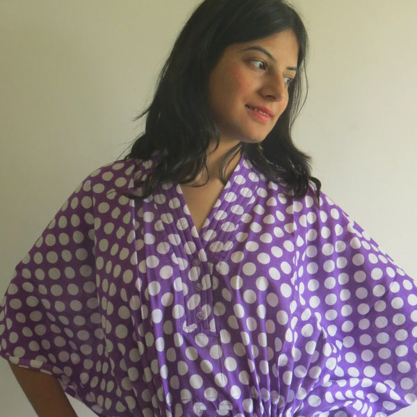 Lilac Dots V-Neck Button Down to Waist, Ankle Length, Cinched Waist Caftan