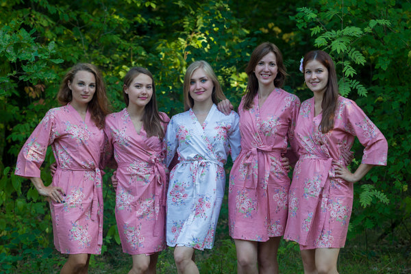 Faded Flowers Pattern Bridesmaids Robes|Rose Gold Faded Flowers Pattern Bridesmaids Robes|Faded Flowers
