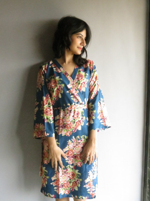 Dark Blue Floral Knee Length, Kimono Crossover Belted Robe-C12 fabric Code