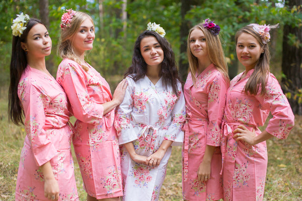 Rose Pink Faded Flowers Pattern Bridesmaids Robes