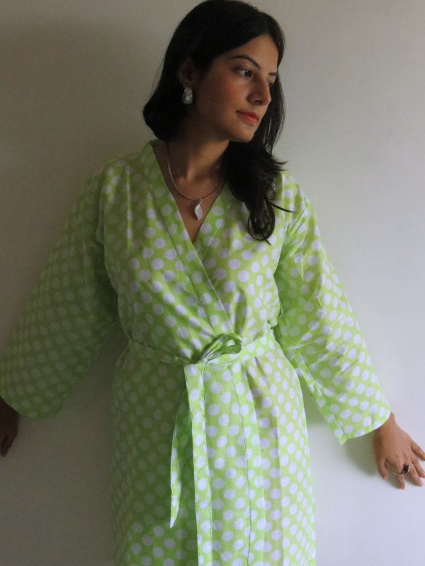 Green Polka Dots Knee Length, Kimono Crossover Belted Robe