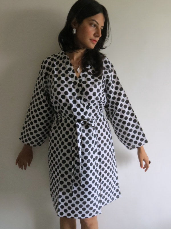 White Polka Dots Knee Length, Kimono Crossover Belted Robe