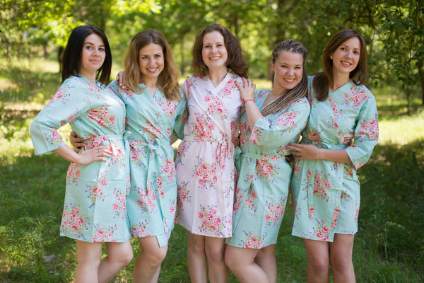 Seafoam Faded Flowers Pattern Bridesmaids Robes