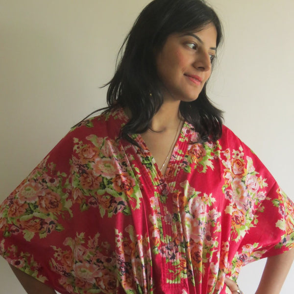 Red Floral V-Neck Button Down to Waist, Ankle Length, Cinched Waist Caftan