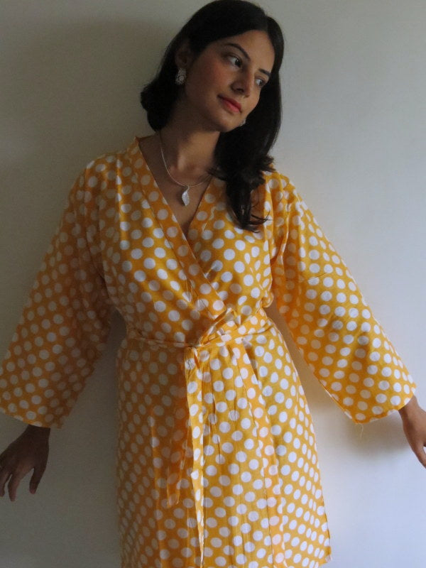 Yellow Polka Dots Knee Length, Kimono Crossover Belted Robe