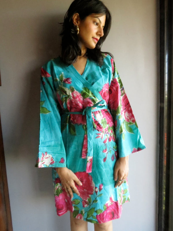 Teal Floral Knee Length, Kimono Crossover Belted Robe-E7 fabric Code