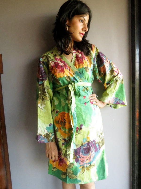 Green Big Floral Knee Length, Kimono Crossover Belted Robe
