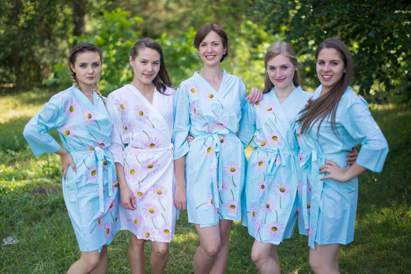 Falling Daisies Pattern Bridesmaids Robes|Light Blue Falling Daisies Pattern Bridesmaids Robes|Falling Daisies