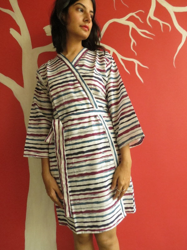 White Blue Striped Knee Length, Kimono Crossover Belted Robe