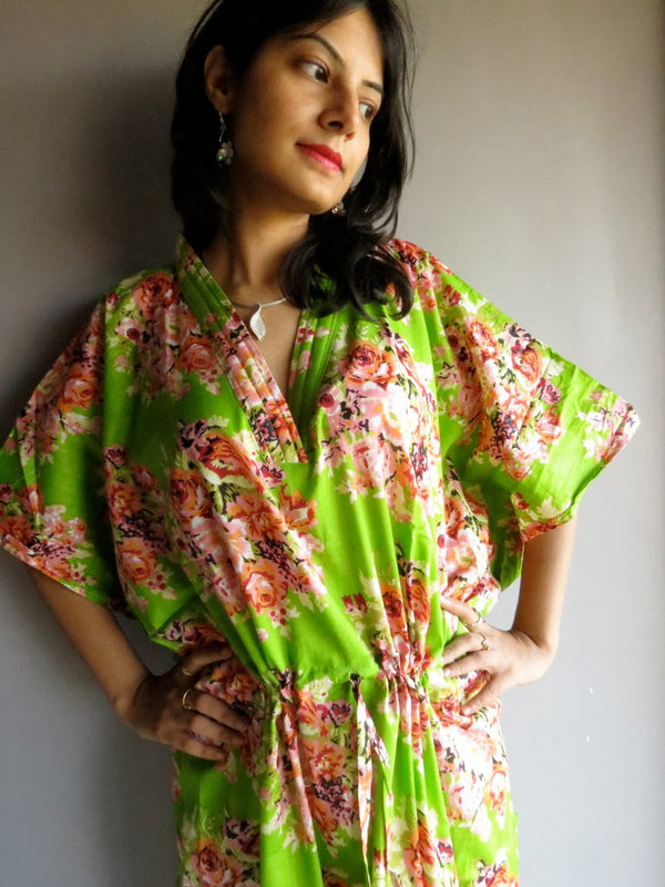 Green Floral V-Neck, Ankle Length, Cinched Waist Caftan-C10 fabric Code