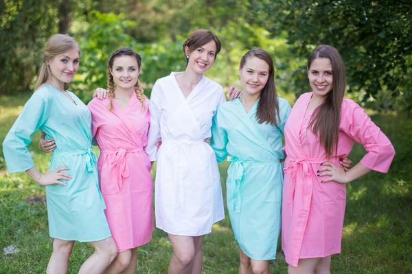 Pink and Mint Wedding Colors Bridesmaids Robes