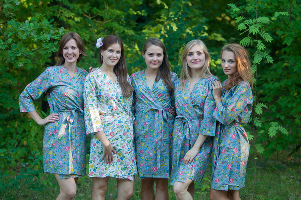 Gray Happy Flowers Pattern Bridesmaids Robes