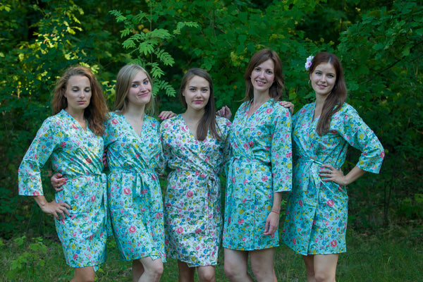 Happy Flowers Pattern Bridesmaids Robes|Light Blue Happy Flowers Pattern Bridesmaids Robes|Happy Flowers