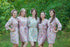 Happy Flowers Pattern Bridesmaids Robes|Pink Happy Flowers Pattern Bridesmaids Robes|Happy Flowers