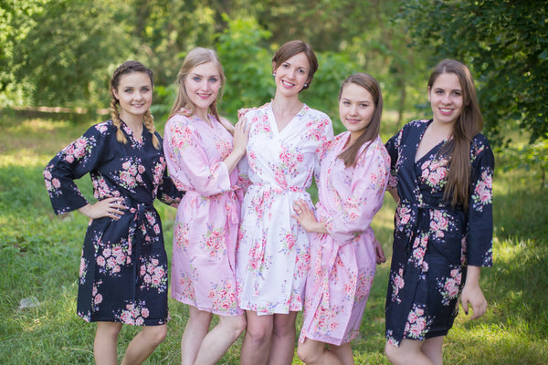 Pink and Black Wedding Colors Bridesmaids Robes