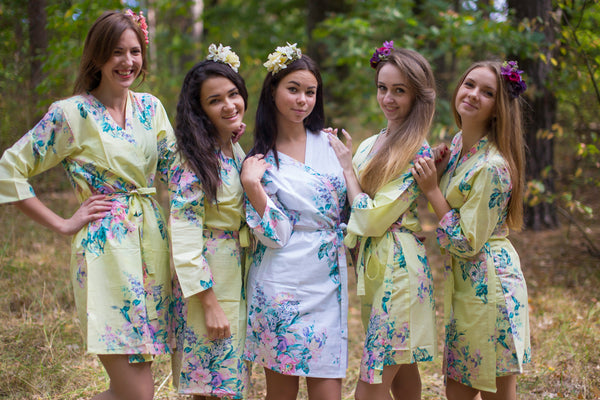 Light Yellow Blooming Flowers Pattern Bridesmaids Robes