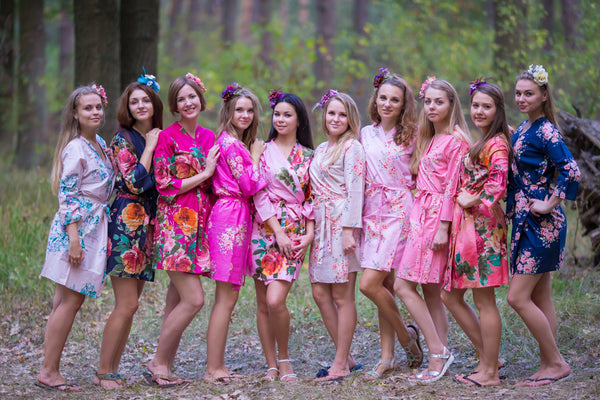 Pink, Fuchsia and Navy Blue Wedding Colors, Bridesmaids Robes
