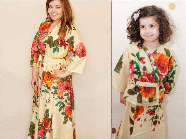 Mommy Daughter Matching Dress 2 Piece Set Skirt and kimono Top, Perfect Baby shower gift Mommy Baby matching Dresses Photoprops Floral Robes|2|3|D SERIES|D SERIES 2
