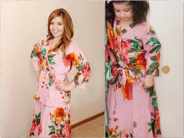 Mommy Baby Matching Dress 2 Piece Set Skirt and kimono Top, Perfect Baby shower gift Mommy and Me matching Dresses Photoprops Floral Robes|2|3|4|D SERIES