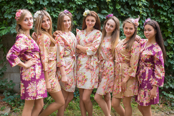 Eggplant, Tan, Champagne and Ivory Wedding Colors Bridesmaids Robes