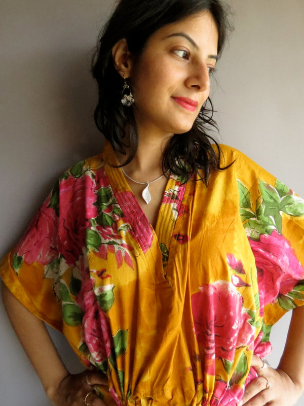 Yellow Big Flower V-Neck, Ankle Length, Cinched Waist Caftan-E9 fabric Code