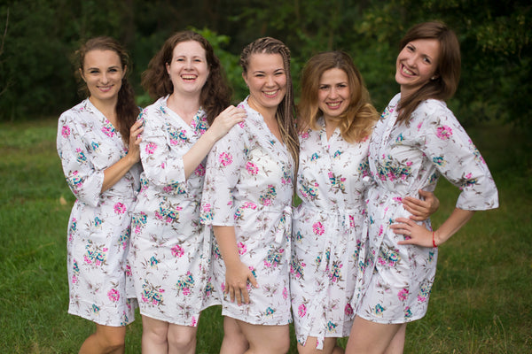 Romantic Flowers Pattern Bridesmaids Robes|White Pink Teal Romantic Flowers Pattern Bridesmaids Robes|Romantic Florals
