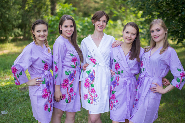 Swirly Floral Vine Pattern Bridesmaids Robes|Lilac Swirly Floral Vine Pattern Bridesmaids Robes|Swirfly Floral Vine