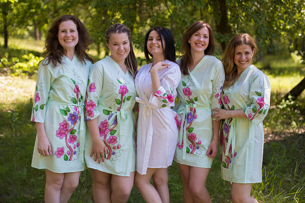 Mint Swirly Floral Vine Pattern Bridesmaids Robes