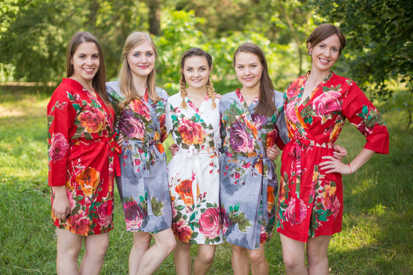 Red and Gray Wedding Colors Bridesmaids Robes