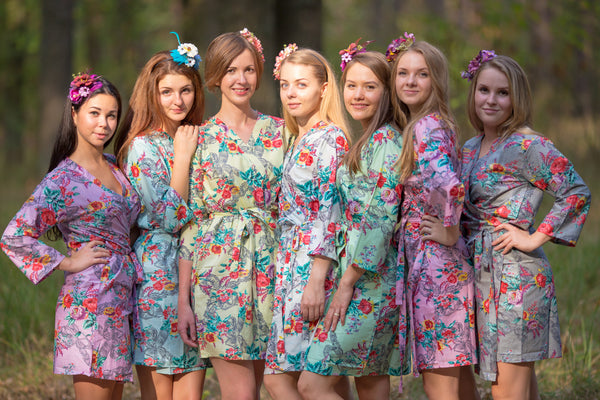 Mismatched Cute Bows Patterned Bridesmaids Robes in Soft Tones