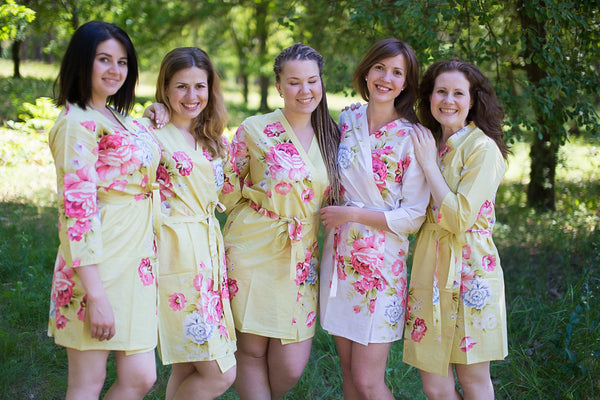 Light Yellow Cabbage Roses Pattern Bridesmaids Robes|Light Yellow Cabbage Roses Pattern Bridesmaids Robes|Cabbage Roses