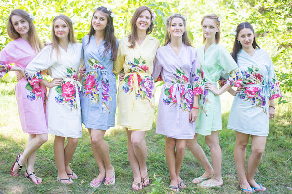 Mismatched One Long Flower Patterned Bridesmaids Robes in Soft Tones