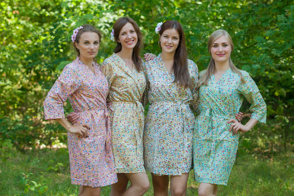 Mismatched Petit Floral Patterned Bridesmaids Robes in Soft Tones|Mismatched Petit Floral Patterned Bridesmaids Robes in Soft Tones|Mismatched Petit Floral Patterned Bridesmaids Robes in Soft Tones|Petit Florals