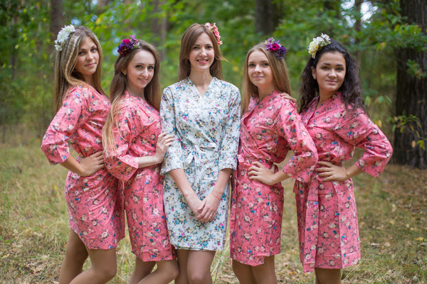 Coral Vintage Chic Floral Pattern Bridesmaids Robes