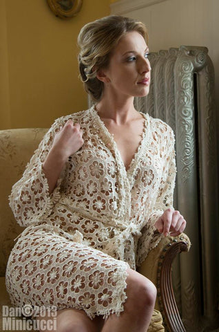 ivory lace robe